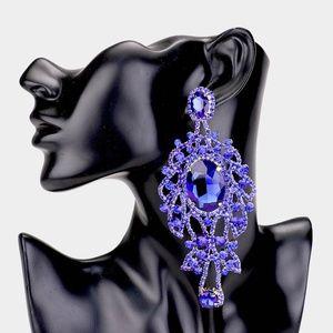 Crystal Oval Rhinestone Pave Evening Earrings